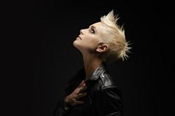 Short spiky blond rock chick