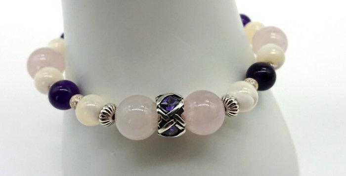 Violet Lady Bracelet - Rose Quartz, Mother of Pearl, Amethyst