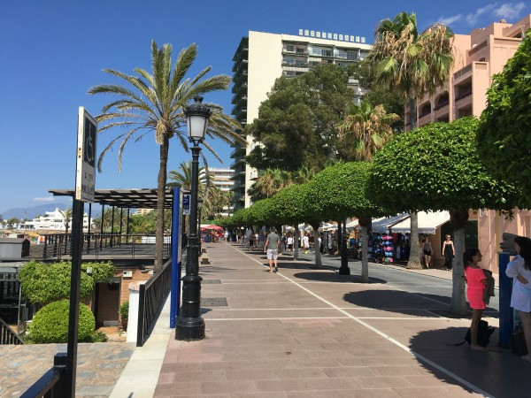 view down the promenade out the hotel fuerte marbella back gate