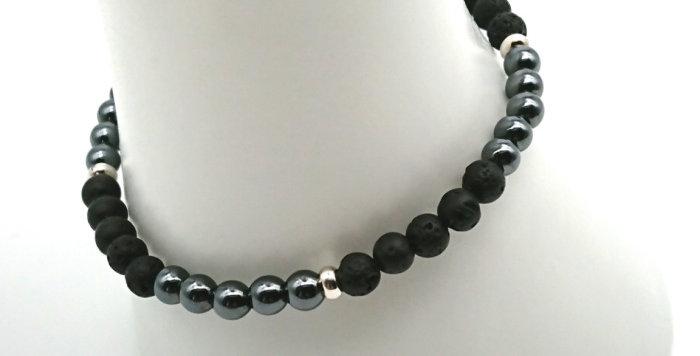 Grounded & Empowered Bracelet - Hematite & Lava Stone