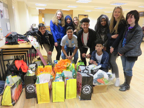 Schoolkids donate over 12 bags of food