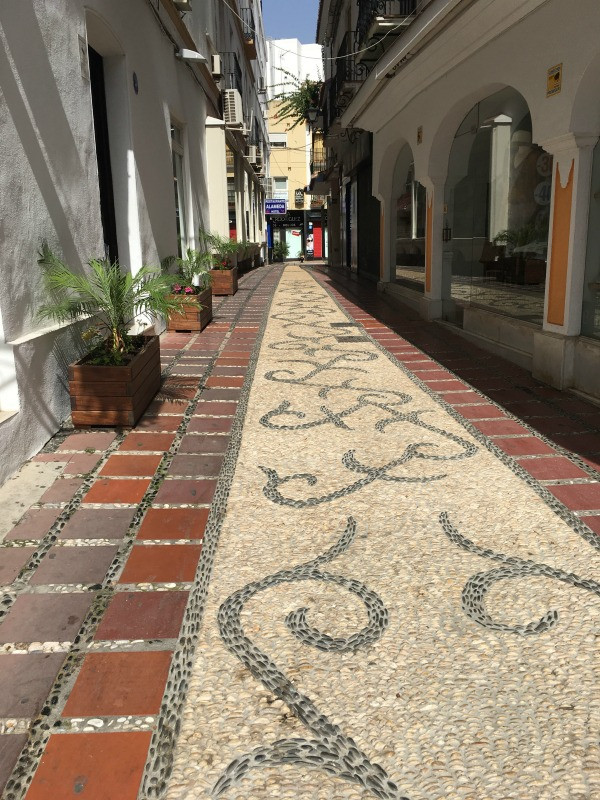 cobbled side street in old town marbella