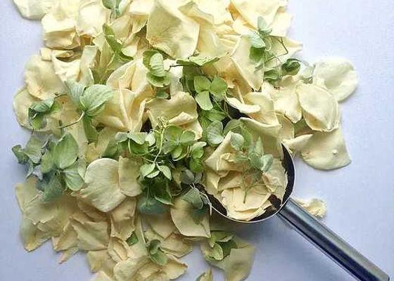 Ivory rosepetals and green hydrangea petals