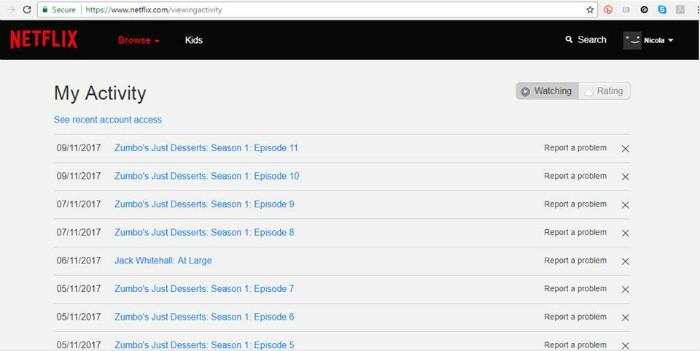 netflix viewing activity screen shot