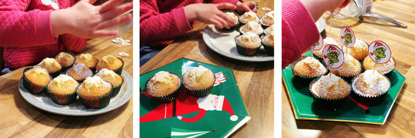 grinch cupcakes - assembly