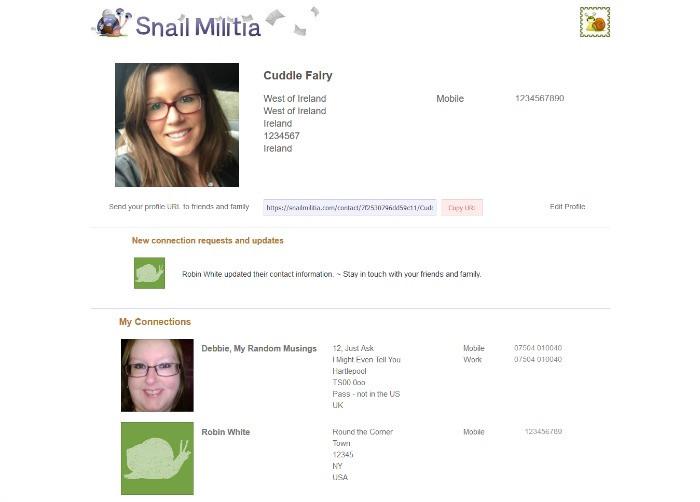 snail militia contacts screen