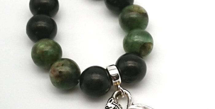 Dragon Shield Keychain - Shungite & Green Kyanite