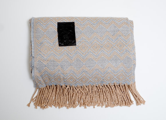 Peruvian Blanket - Grey and Tan Zig Zag