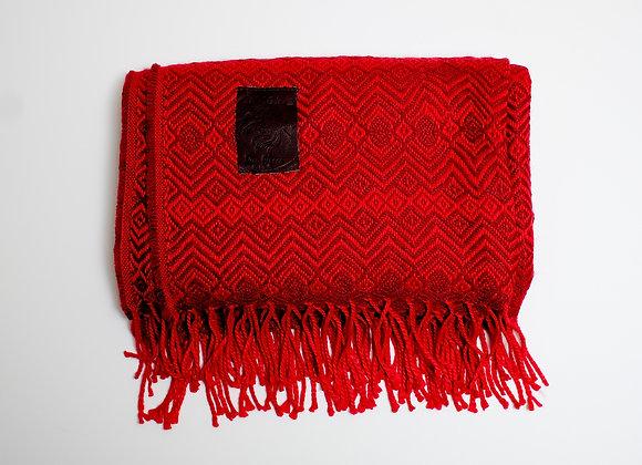 Peruvian Blanket - Dark Red Small Diamond