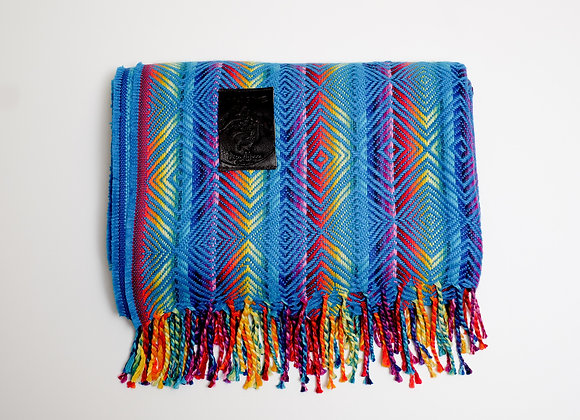 Peruvian Blanket - Teal Rainbow