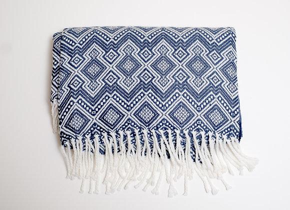 Peruvian Blanket - Dark Blue Checker Board