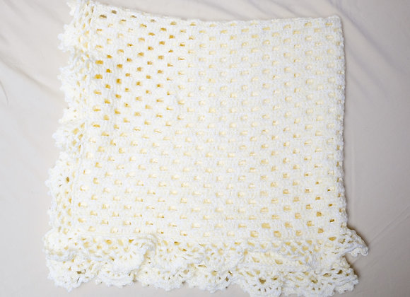 Crocheted Baby Blanket - Yellow Fringe