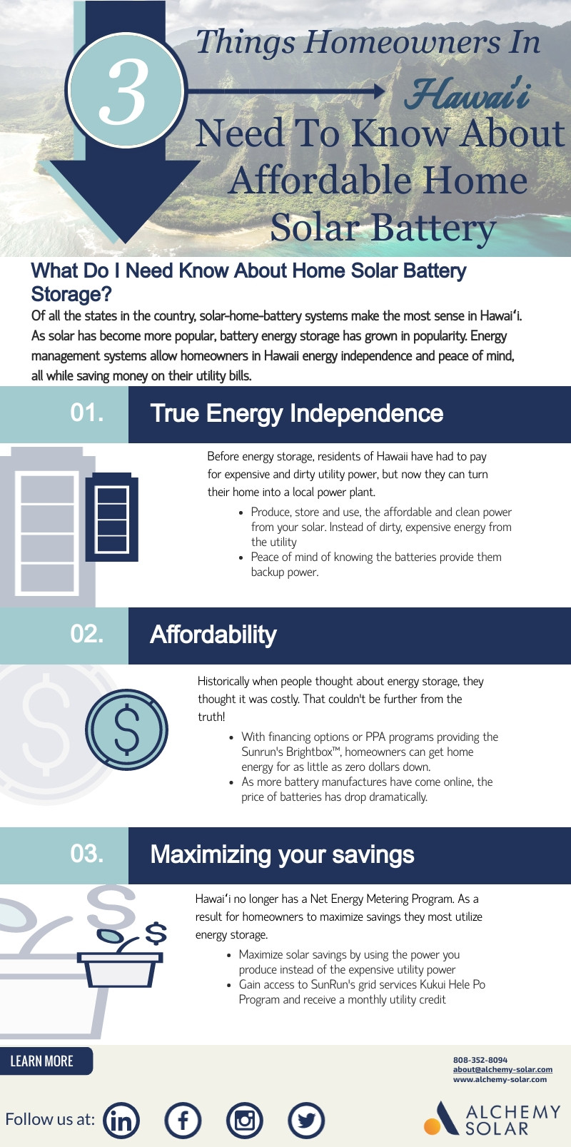 How solar batteries help homeowners in Hawaii save more, avoid black outs and  reduce pollution.