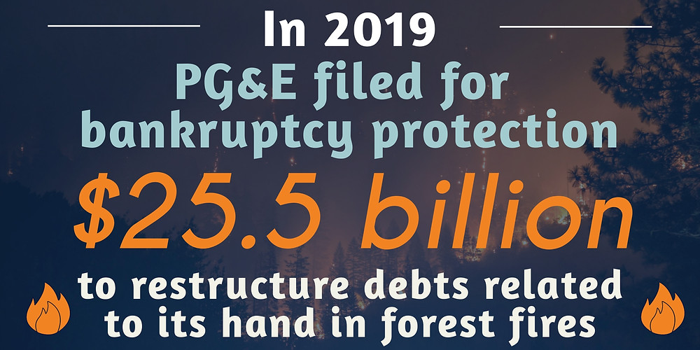 PG&E filed for bankruptcy protection of $25.5 billion as a result of debts related to forest fire