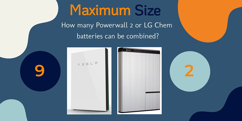 What is the maximum size of a Powerwall 2 or LG Chem RESU 10H home battery system