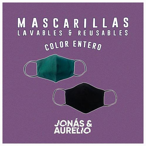 Pack02: Mascarilla Verde Color Entero+ negro