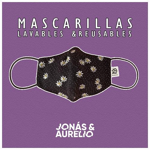 Pack02: Mascarilla Flores Azul Marino + negro