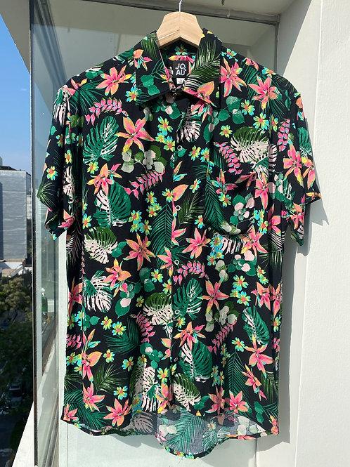 Camisa Chalis negro tropical