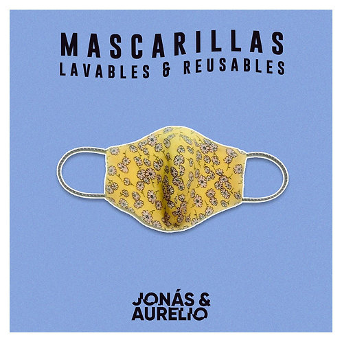Pack02: Mascarilla Amarillo Margaritas + negro