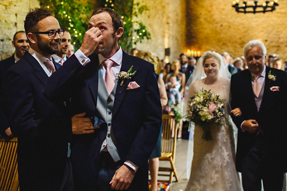 Groom crying at Bride by Alice Taper