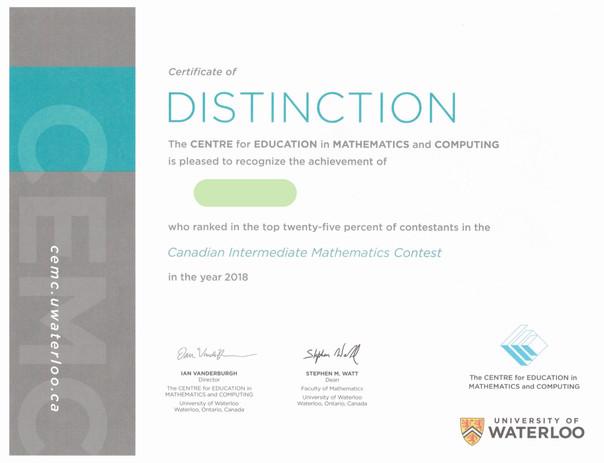 Kevin Canadian Intermediate Mathematics Contest