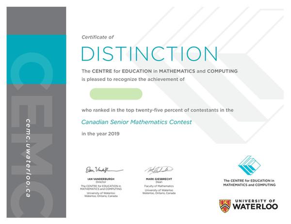 Kevin Canadian Senior Mathematics Contest