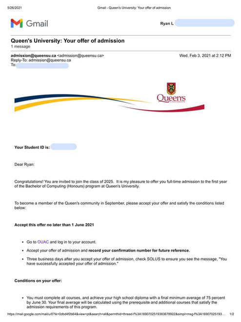 Queen's University Bachelor of Computing (Honours)