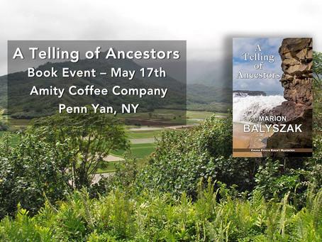 Ancestors Book Event May 17 at Amity Coffee Company, Penn Yan, New York