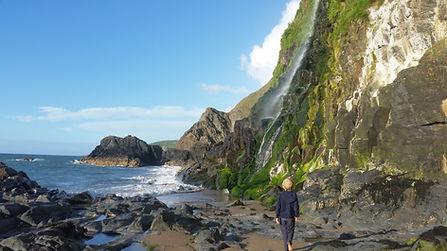Tresaith Beach waterfall