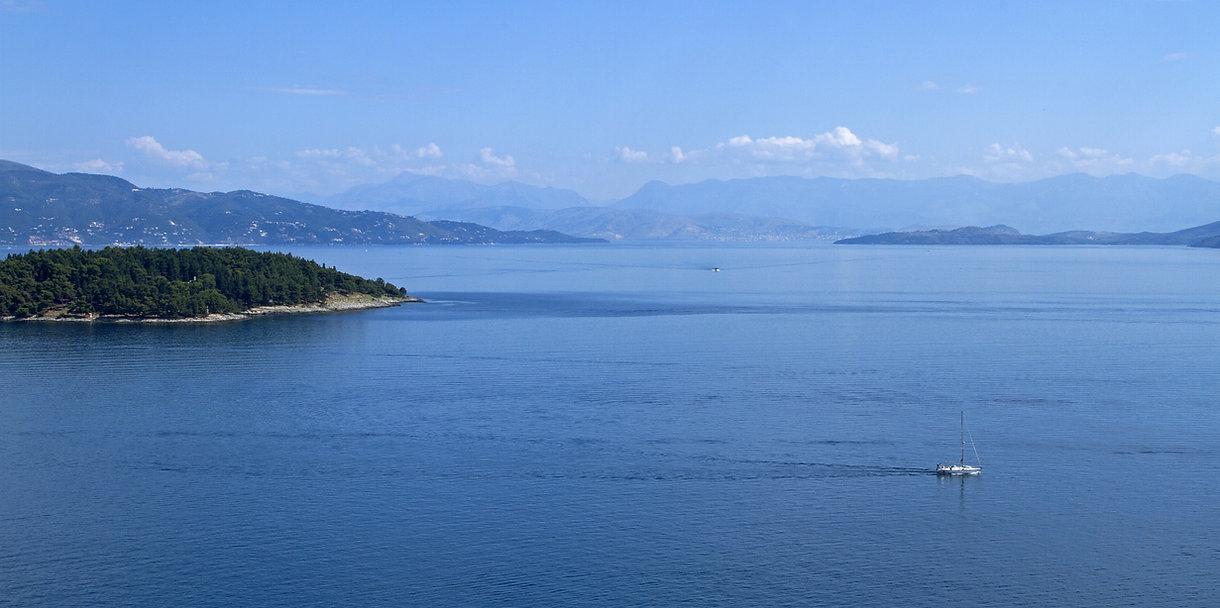sailing along the Corfu, sailing along t