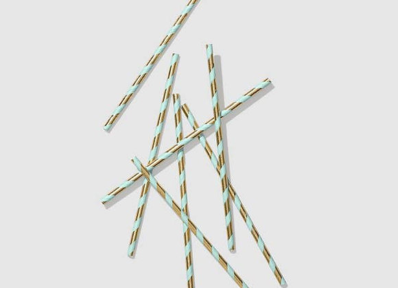 mint and gold paper straw (25 count)
