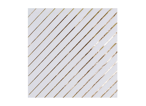 white and gold striped small napkins