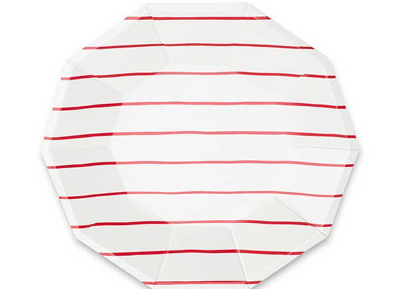 frenchie striped large plate: candy apple red