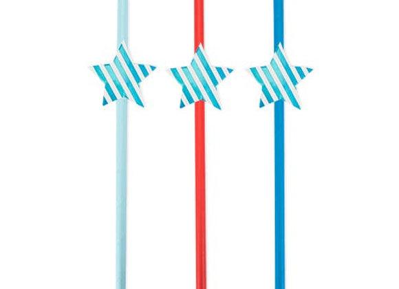 stars + stripes assorted shine bright straws