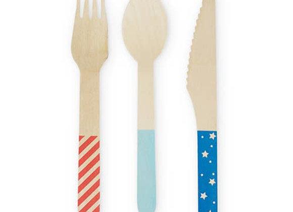 stars + stripes wooden cutlery