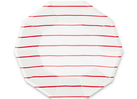 frenchie striped small plates: candy apple