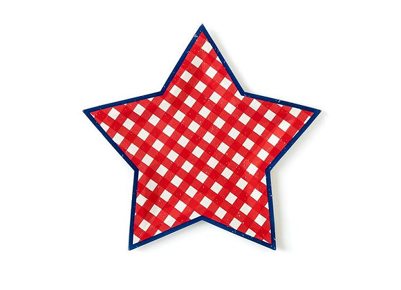 """blue + red gingham 9"""" star plate"""