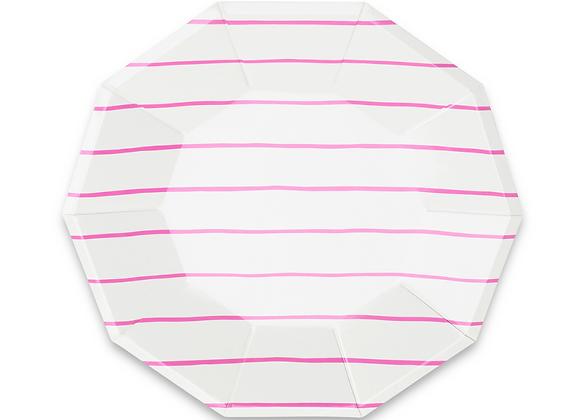 frenchie striped large plates: cerise