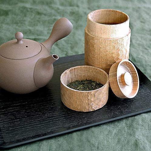 ロクサン 木製茶筒 一刀彫