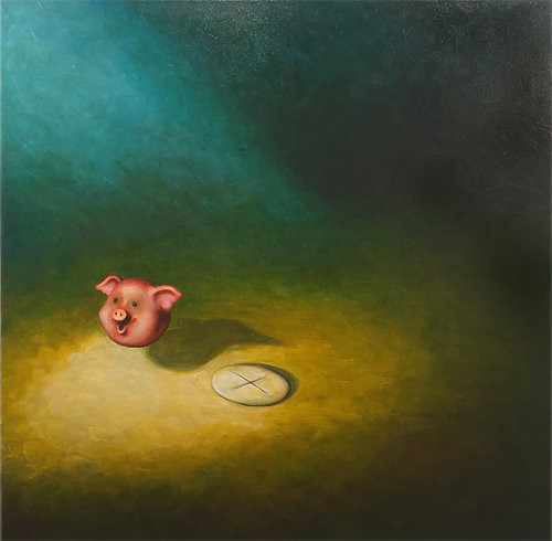 Levitating Pig's Head & Communion Wafer