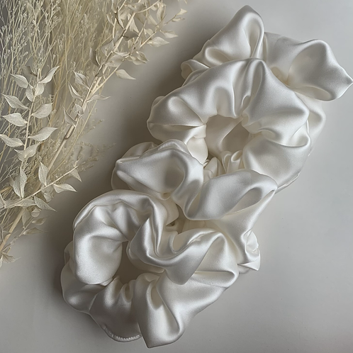 White 100% Silk Scrunchies