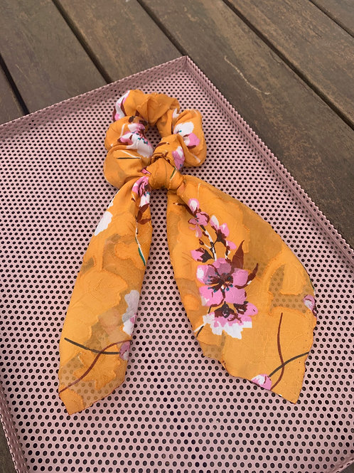 Mustard with Pink Flowers Scarf Scrunchies