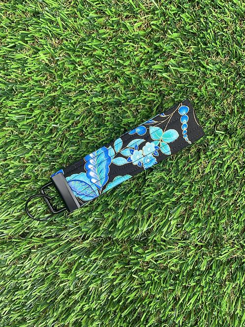 Dark Blue Floral Keychain