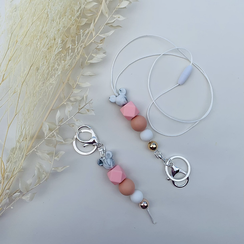 Peachy Mouse Ears Silicon Keychain or Lanyard