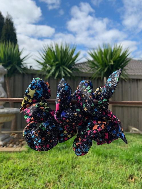 Black Glitter with Rainbow Stars
