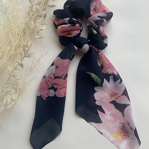 Navy Pink Floral Scarf Scrunchie