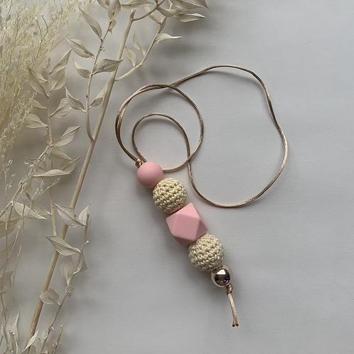 Cream Light Pink Hanging Keychain