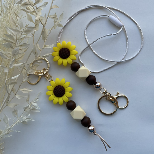 Yellow Brown Daisy Silicon Keychain or Lanyard