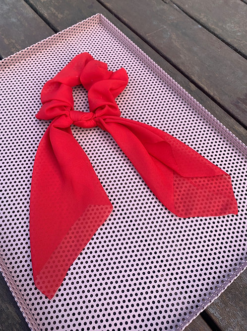 Plain Red Scarf Scrunchie