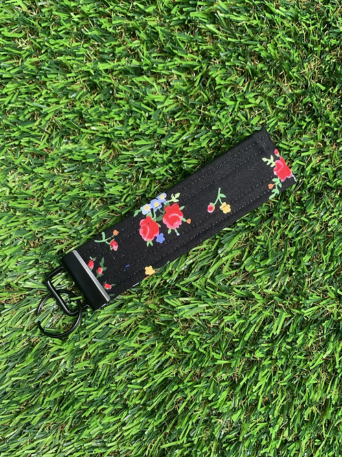 Black with Roses Keychain